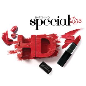 arte com batom vermelho e texto batom hd special line