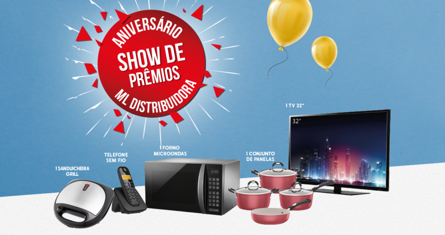 imagem com produtos para sorteio e texto aniversario show de premios ml distribuidora